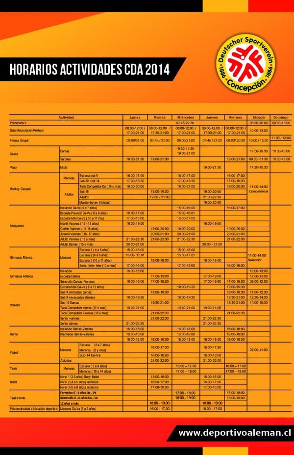 horario act 2014